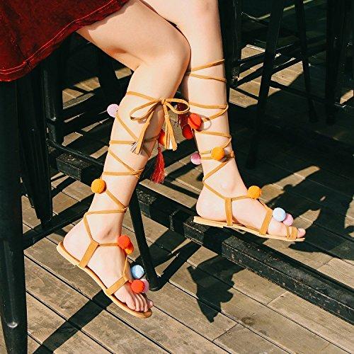Xing Lin Sandales Pour Dames Un Maomao Bottes Cool Oversized 44 Chaussures Sandales Toe Strap 45 Chaussures De LÉté 46 47 Rome orange