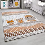 Kinderteppich Kurzflor Nilpferd Teddy Esel Beige Orange Weiss meliert Kinderzimmer Babyzimmer Jugendzimmer verschidene Groeßen , Größe:120x170 cm