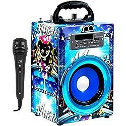 Altavoces Karaoke reproductor con Micrófono Radio FM Bluetooth Portátil Inalámbrico USB TF Card Recargable