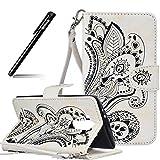 BtDuck LG G4 Hülle Leder Wallet Case, Brieftasche Flip Cover Portable Carrying Strap Embed Patterned Handytasche PU Leder Schutzhülle für LG G4 Tasche Handyhülle (Weiß)