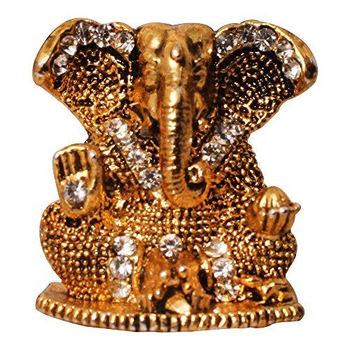 Brass Antique Look With Stones Hindu God Shri Ganesh Car Dashboard Statue Lord Ganesha Idol Bhagwan Ganpati Handicraft Decorative Spiritual Puja Vastu Showpiece Figurine - Religious Pooja Gift Item & Murti for Mandir / Temple / Home Decor / Office / Study Table  available at amazon for Rs.198