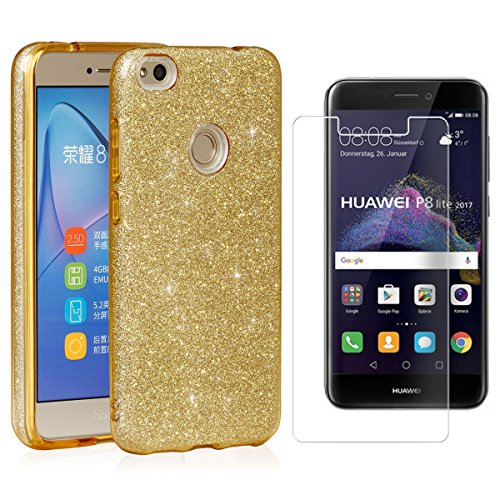 EGO ® Hülle Glitzer Schutzhülle für Huawei P8 Lite 2017, Pink Back Case Bumper Glänzend Transparente TPU Bling Weiche Glamour Handy Cover Lipgloss Gold + Glas