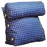 GUOWEI Nachttisch Kissen Kopfkissen Dreieck Gepolstert Keil Rückenlehne Sofa Lesen Unterstützung, 6 Farben (Farbe : Blau, größe : 45x25x42cm)