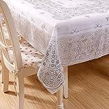 DSAAA Sencillez moderna mantel de PVC transparente de vidrio y suaves sábanas de tela de tapa mesa,Plata 80*140cm