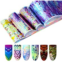 coulorbuttons 16pcs flores serpiente patrón holográfico Animail láser lámina de uñas manicura Nail Art transferencia pegatinas