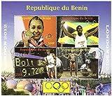 Fotos de Londres 2012 Juegos Olímpicos de pista y campo de estrellas Bolt y Ennis en una hoja de menta con 4 sellos / Benin / 2012