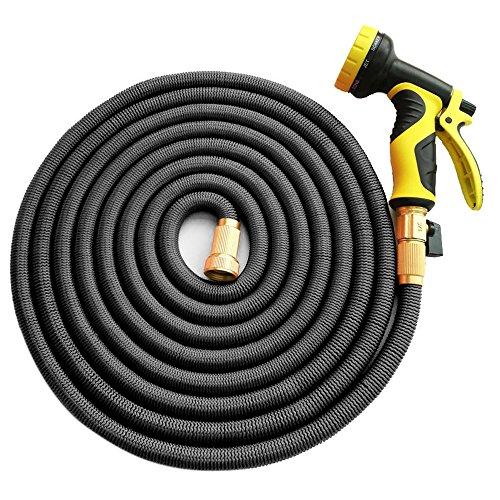 Garten Schlauch, homeme 100 Füße erweiterbar stärksten Magic Schlauch Rohr mit massivem Messing Armaturen & 9-pattern Spritzdüse (schwarz)