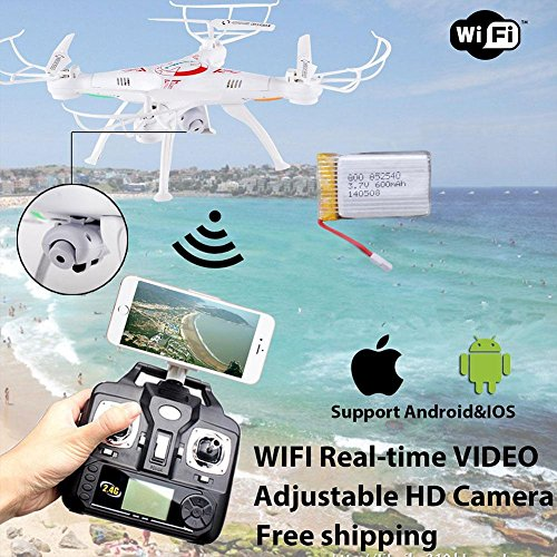 Cewaal FPV Drone with live video camera, X5SW-1 2.4G RC Quadcopter Kits, Phone APP Remote Control Drone Helicopter RC Airplane Toy (Blcak)