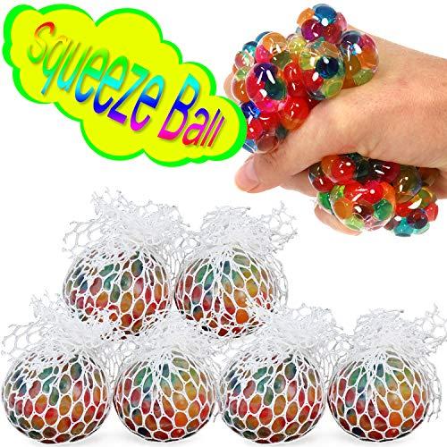 tress Ball für Kinder und Erwachsene, Quetsch Ball im Netz ohne Schutzkappe (06 Stück - Ø 6 cm V2) ()