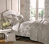 DnD 'Malton' Vintage Floral Face and Patchwork Reverse Duvet Cover Set, Double, Slate