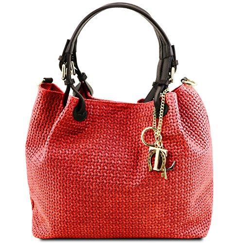 Tuscany Leather TL KeyLuck - Borsa shopping in pelle stampa intrecciata - TL141573 (Beige) Rosso Lipstick