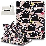 Samsung Galaxy Tab S2 9.7 (T815) Hülle Braun,TOCASO Schutzhülle für Samsung Galaxy Tab S2 9.7 (T815) Brieftasche Handyhülle Ständer Kartenfächer Magnet -Schwarze Katze
