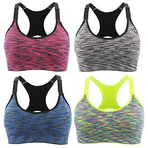 en 2/4er Pack Komfort bequem ohne Bügel Yoga BH mit abnehmbare Polsterung für Fitness (S, Mehrfarbig)(Verpackung/MEHRWEG) ()