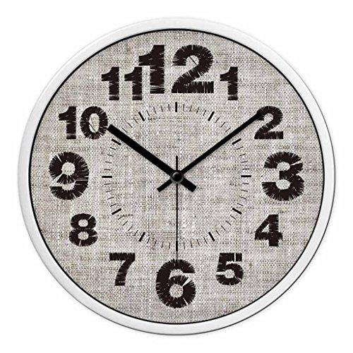 Horloges Quartz Rétro Tissu Balayage Secondes métallique Mur muet Silencieux approprié Ronde et Montres pour Chambre et Salon (Color : White-B, Size : 30.5cm(12inch))