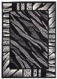 Carpeto Rugs Tapis Salon Noir 300 x 400 cm Animal Africain/Monaco Collection