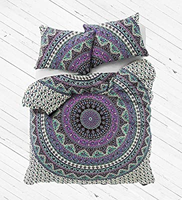 HANDICRAFTOFPINKCITY Double Size Elephant mandala Duvet Cover Throw Indian Handmade Quilt Cover Reversible Bedding Doona Blanket Cover Set