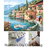 Aksuo Paint by Numbers Kits Diy Canvas Oil Painting for Kids, Students, Adults Beginner - Harbour beautiful dirt house 16 x 20 inch with Brushes and Acrylic Pigment(Without Framed)
