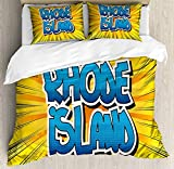 JamirtyRoy1 Rhode Island Duvet Cover Set Super King Size, Abstract Comic Book Style Beamed Background with Bold Font Dotted Letters, Decorative 3 Piece Bedding Set with 2 Pillow Shams, Multicolor