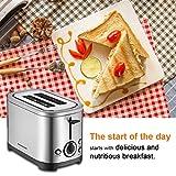 Homeleader Toaster mit 2 Brotscheiben, Edelstahl Doppelschlitz-Toaster mit 7 Bräunungsstufen, abnehmbarer Krümelschublade, 700W, Silver - 7