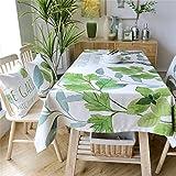 Dafa Tischdecken Erfrischende Blatt Cotton Line Tischdecke Rechteckige Studie/Abendessen/Kaffee Schreibtisch Grünes Idyllisches Antependium (Color : 130 * 180cm)