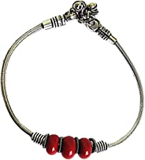 muccasacra Oxidized Silver Red Stone Single Anklet