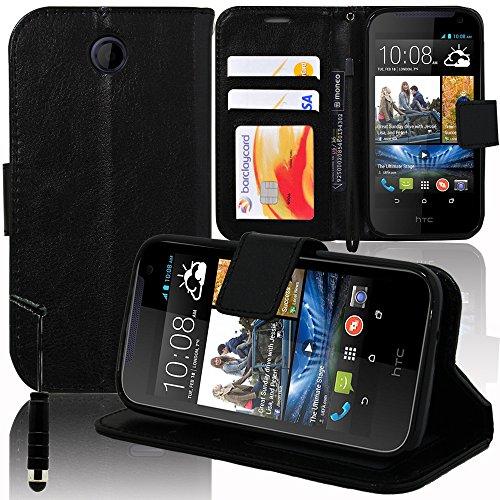 VCOMP® HTC Desire 310: Etui Portefeuille Cuir PU Livre Rabat Support vidéo + Stylet - Noir