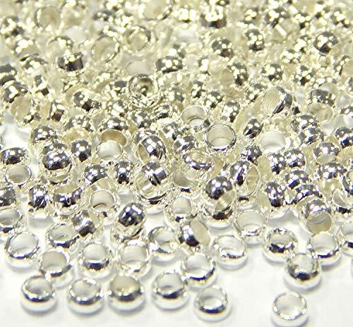 designer fashion 009bf a5255 Perline argentate, perline, in ottone, PERLINE IN METALLO, PELRE IN  METALLO, 350 pezzi, dimensioni: 2 mm, ROTONDE, COLORE: ARGENTO, PERLE M167