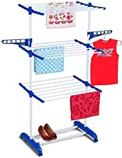 BEST4U Made In India Life Time Use 3 Tier Mild Steel Floor Cloth Dryer Stand Racks Hanger (Orange)