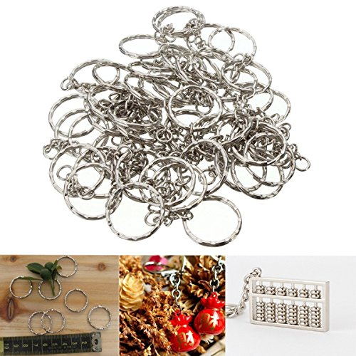 MOHOO 50pcs portachiavi Blanks 55 millimetri argento tono Portachiavi chiave spaccati anelli