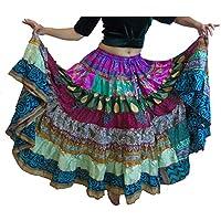 1 - 7 Yard Tribal Gypsy Maxi Jupe Tiered Jupes de danse du ventre Mélange de soie Banjara Fits S M L XL, ONE SIZE 34 - 46