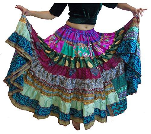 Kostüme Online Bauchtanz (1 - 7 Yard Tribal Zigeuner Maxi Taille Rock Bauchtanz Röcke Silk Blend Banjara Für S M L XL, ONE SIZE 34 - 46 (BUNTE)