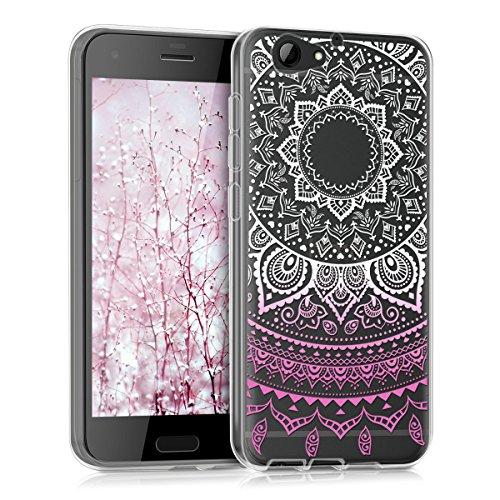 kwmobile Crystal Case Hülle für HTC One A9s aus TPU Silikon mit Indische Sonne Design - Schutzhülle Cover klar in Rosa Weiß Transparent