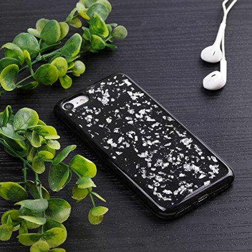 JAWSEU Coque Etui pour iPhone 7,iPhone 7 Coque Transparent en Silicone,iPhone 7 Étui Tpu Cristal Clair,Ultra Slim Mince Créatif Motif Protecteur Téléphone Couverture Soft Silicone Crystal Clear Case F argent/gliter