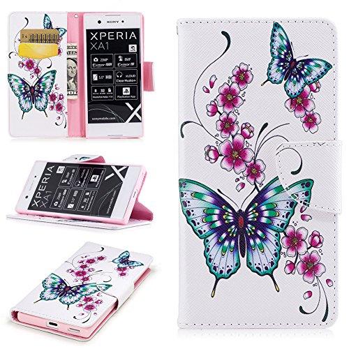 JARNING Sony Xperia XA1 G3112/Sony Xperia Z6 Hülle Leder Luxus Schutzhülle Schlanke Prämie Wallet Tasche Brieftasche Flip Case mit Magnetverschluss Kartenfach(Pfirsich-Blumen-Schmetterling)