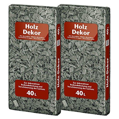 Floragard Mulch Universal Holzdekor anthrazit grau 2 x 40 L • Rindenmulch • in dunkler Färbung • zum Abdecken • dekorativer Bodenbelag • unterdrückt Unkrautwuchs • 80 L