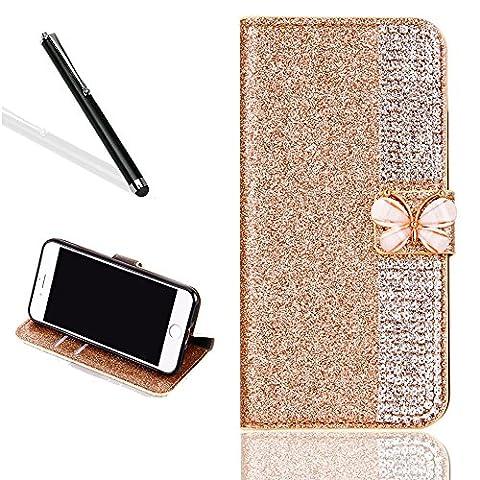 Diamant Coque Etui pour iPhone 7 Plus,Portefeuille Brillant Housse pour