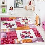 Paco Home Alfombra para Habitación Infantil con Motivo De Zorros Colorida En Rosa Crema, tamaño:200x280 cm