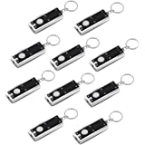 Vadiv FL01 Mini-sleutelhanger, 10 stuks, ultralicht, zaklamp, sleutelhanger, rechthoekig, 45 lumen, voor kamperen, wandelen,