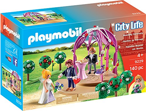 The Playmobil Wedding Ceremony is the perfect setting for the happy couple's big day. The beautiful archway is the perfect setting for the wedding registrar to read the vows to the bride and groom.  Once the ceremony is over, the couple can each hold...