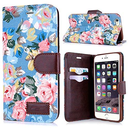 Apple iPhone 6 Handyhülle inklusive Displayfolie Lila Blumen aufwendige Blumen blau