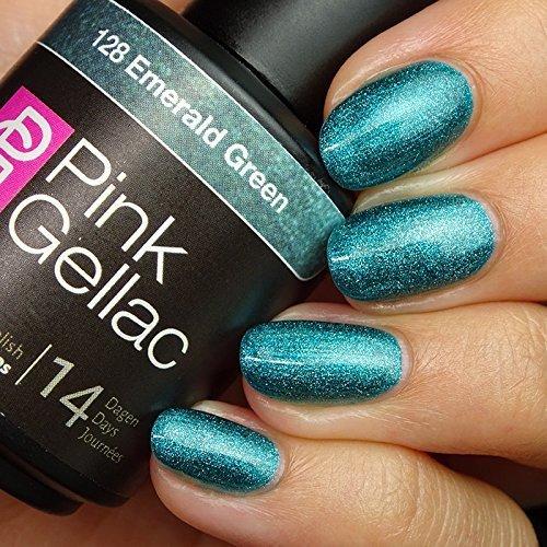 Nail Polish Remover-marken (Pink Gellac 128 Emerald Green UV Nagellack. Professionelle Gel Nagellack shellac für mindestens 14 Tage perfekt glänzende Nägel)