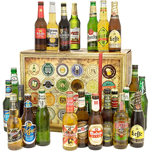 Geschenkideen für Männer BIERE DER WELT 24er Bier Geschenkbox + Geschenk Karten + Bierbewertungsbogen. Bier Geschenke für Ihn auf aller Welt. Biere der Welt mit 24 Flaschen Bier