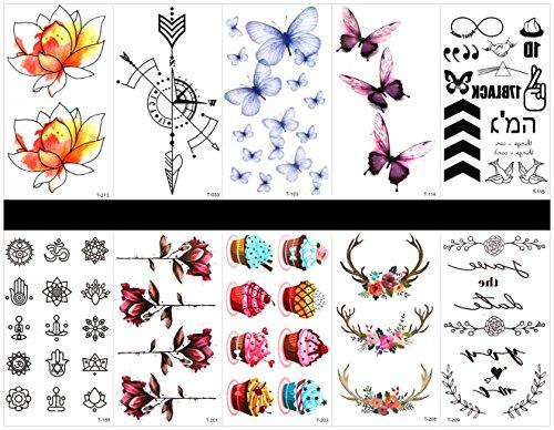 SPESTYLE 10ST Tattoo Schmetterling Tattoos wasserdicht und ungiftig echte gefälschte Tattoos in 1 Pakete, einschließlich Totem, Blumen, Kuchen, Kranz, Lotus, Kompass, Schmetterlinge, etc. -