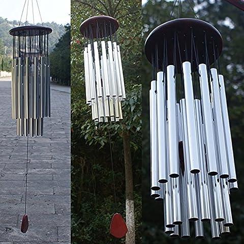 Dairyshop 27tubes Tube Argent Église Wind Chimes, extérieur à suspendre cloches Home Garden Décorations NEUF