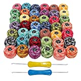 Fil à Crochet 42 Pcs et 2 Crochets - Boules à Fil de Coton Taille de 8 Poids 5g & 43m - Fil de Couleur Assorti pour Motifs, Projets de Tricot et Broderie à la Main