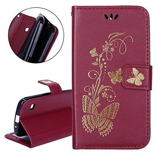 ISAKEN Hülle für Huawei Ascend Y550, PU Leder Brieftasche Geldbörse Wallet Case Handyhülle Tasche Schutzhülle Hülle Etui mit Handschlaufe Strap für Huawei Ascend Y550 - Gold Schmetterling Rotbraun