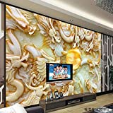 Y-Hui 3D Stereo Jade Sculpture Kowloon Silk Wallpaper TV Wallpaper Wallpaper Hotel Living Room Sofa Bedroom Mural,180cmX120cm