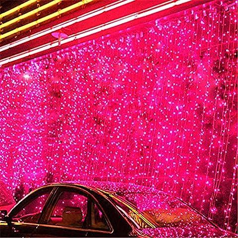 8 Modes 3m(W) x 5m(H) avec 480 Icicle Lumières LED Guirlande lumineuse LED feux clignotants de chaîne filet féerique éclairage Décoration lumières de rideau pour festival Noël mariage bar nouvel an et décoratif (Rouge)