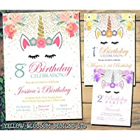 Personalised Magical Unicorn Birthday Party Invitations Boy Girl Twins Unisex Joint Party Twinkle Twinkle Glitter Effect Pink Blue Purple Yellow Cute Fantasy 5 10 20 30 40 50 60 70 80 90 100