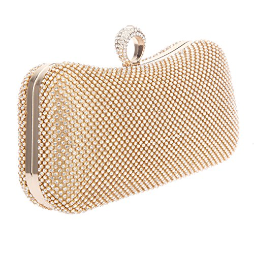 Bonjanvye Knuckle Clutch Bags with Studded Rhinestone Bag for Girls Silver Gold